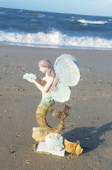 "GORGEOUS TALL MERMAID ! METAL & CAPIZ SHELL 17 1/2"" TALL"