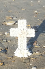 "BEAUTIFUL SHELL CROSS * SELF STANDING 9.75"" Tall"