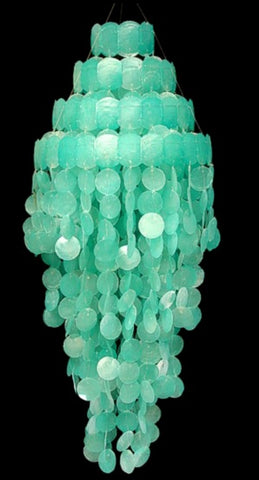 BEAUTIFUL CAPIZ CHANDELIER! TURQUOISE COLOR!