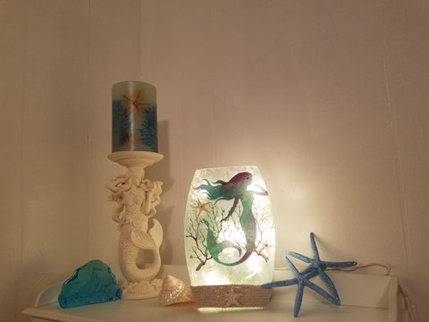 "STUNNING MERMAID LAMP! 9 1/2"" TALL"