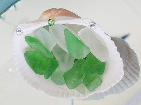 BEAUTIFUL SEASHELL WITH SEA GLASS & SWAROVSKI CRYSTALS!
