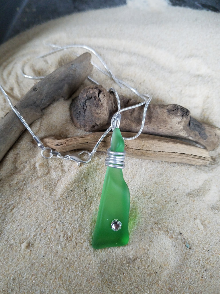 GREEN SEA GLASS PENDANT with SWAROVSKI CRYSTAL & Sterling Chain ONE OF A KIND