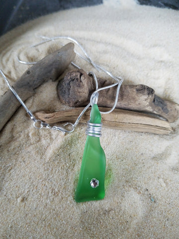 GREEN SEA GLASS PENDANT with SWAROVSKI CRYSTAL & Chain ONE OF A KIND