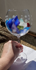 "9"" Goblet with 1lb + of SEA GLASS! BEAUTIFUL DECOR!"