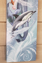 "Elegant Mermaid & Dolphin on Canvas - Wood Frame 18"" Long"