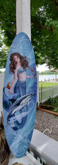 "MERMAID & DOLPHIN ON LARGE CANVAS! 35"" x 9"""