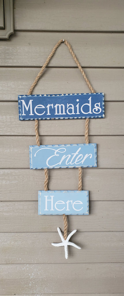"MERMAIDS ENTER HERE * 25"" Long WALL HANGING"