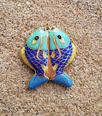 VTG CLOISONNE TWIN FISH PENDANT - DOUBLE SIDED