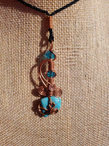 *NEW! COPPER & TURQUOISE PENDANT! ONE OF A KIND! MADE IN U.S.A.