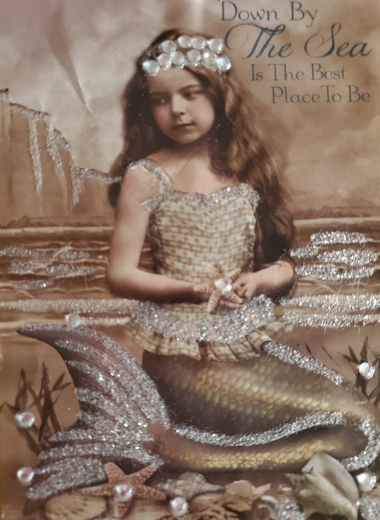 "Vintage Style Young Mermaid Print #3 * SWAROVSKI CRYSTAL ACCENTS - ""Down By The Sea Is The Best Place To Be"""