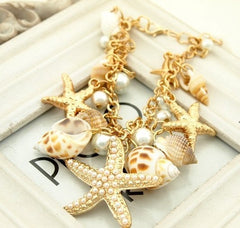 BEAUTIFUL Multi Starfish Sea Star Conch Shell Faux Pearls Bracelet