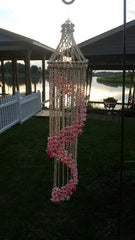 "BEAUTIFUL ""LONG"" SWIRL SHELL DECOR WITH PINK ACCENTS. 44 INCHES LONG WITH 8 INCH DIAMETER"