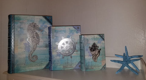 "Embossed  - Set of 3 * COASTAL ""BOOK"" BOXES"