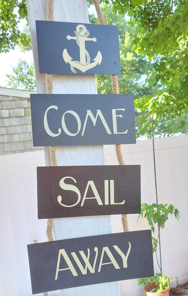 """COME SAIL AWAY""  METAL & ROPE SIGN!"