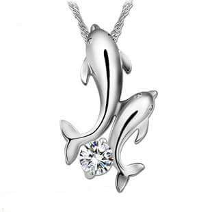 GORGEOUS  Double Dolphin Necklace 925 SILVER w/RHINESTONE