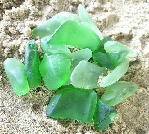 *20pcs * Green *Sea - Beach Glass * Jewelry Grade