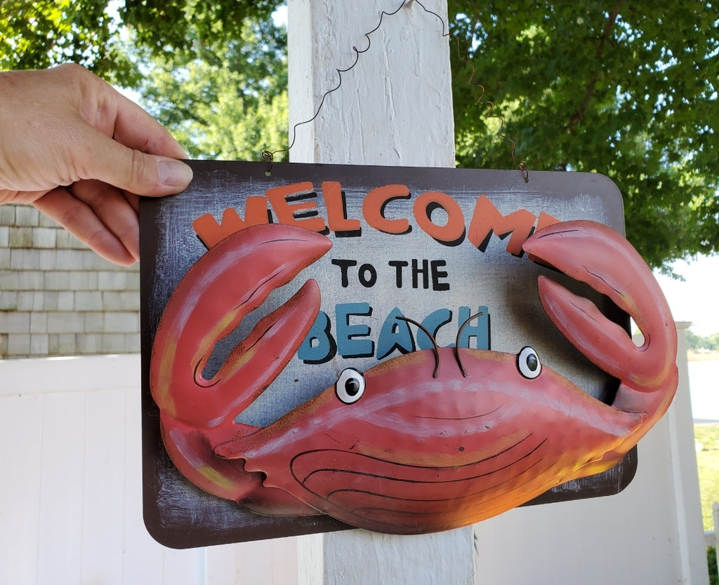 WELCOME TO THE BEACH METAL CRAB SIGN!