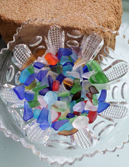"SEA GLASS IN EAPG COMPOTE! CRAFT SIZE 1/4""- 1/2"""