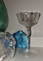 FANCY VINTAGE CHAMPAGNE COUPE WITH 1/4 LB SEA GLASS!