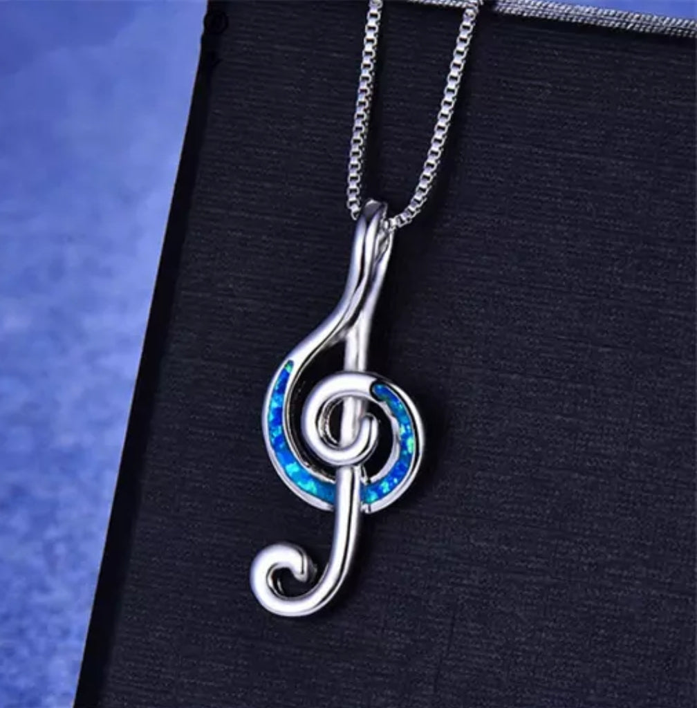 925 SILVER BLUE NOTE CHARM PENDANT NECKLACE!@