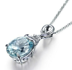 925 STERLING CHAIN NECKLACE & AQUAMARINE SET!