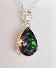 925 STERLING SILVER MYSTIC RAINBOW TOPAZ PENDANT!