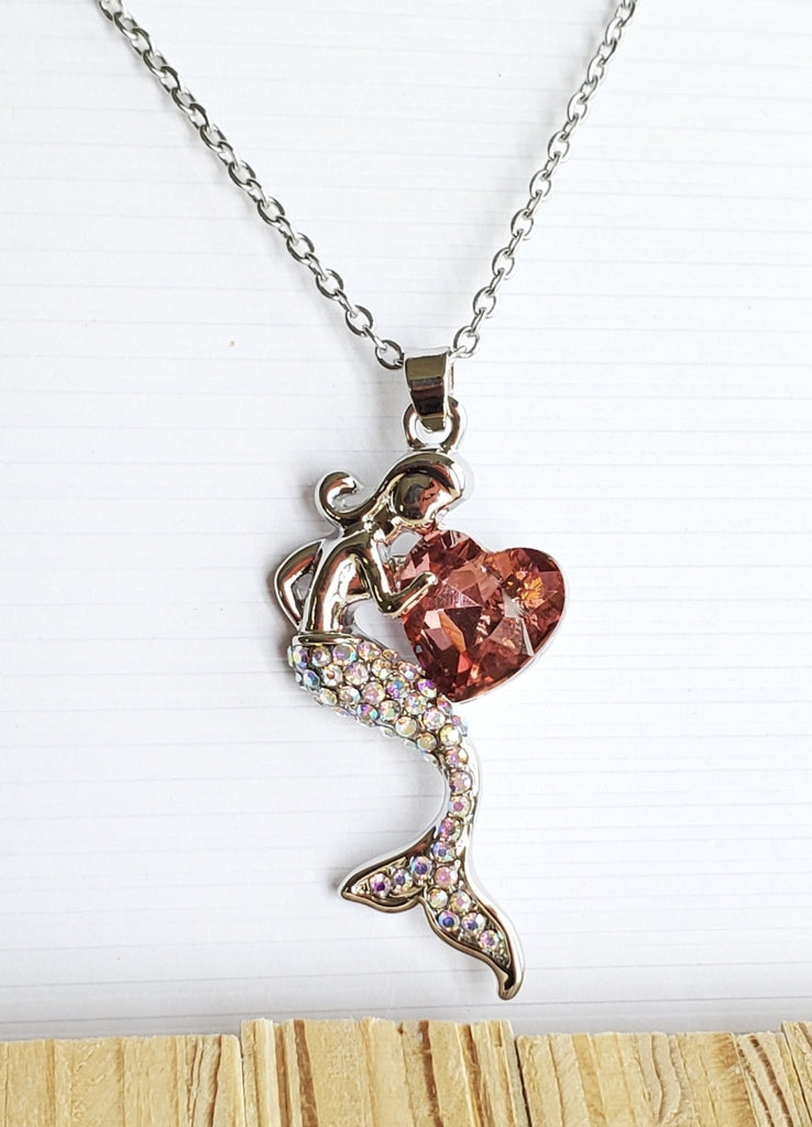 "DARLING MERMAID PENDANT 1 & 1/2"" LONG! PINK HEART!"