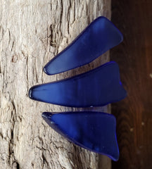 3 PIECES OF SEA GLASS * COBALT BLUE! * JEWELRY * CRAFT SUPPLY