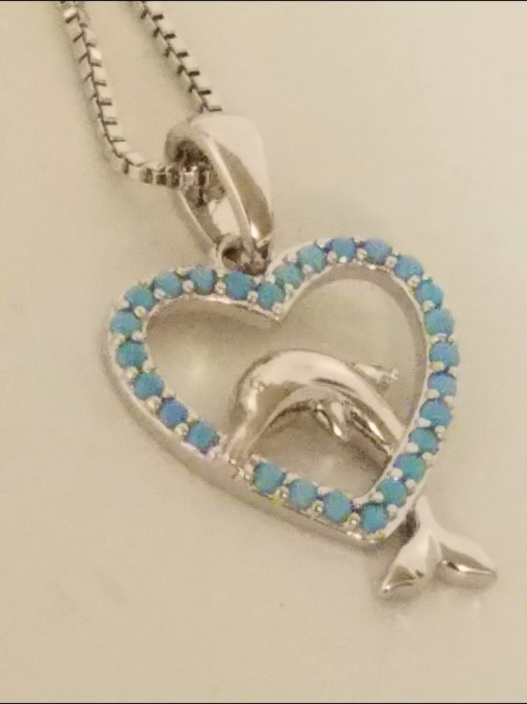 STERLING DOLPHIN IN HEART PENDANT W/ CHAIN!