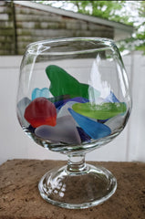 * BRANDY SNIFTER WITH SEA GLASS! *