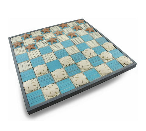 "LARGE COASTAL CHECKERBOARD GAME 19"" x 19"""