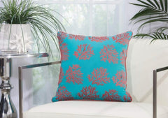 "MINA VICTORY TURQUOISE & CORAL INDOOR/OUTDOOR PILLOW! 18""x 18"""