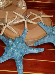 PAIR Glamourized SHIMMERING CORAL or BLUE Starfish with Swarovski Crystals!