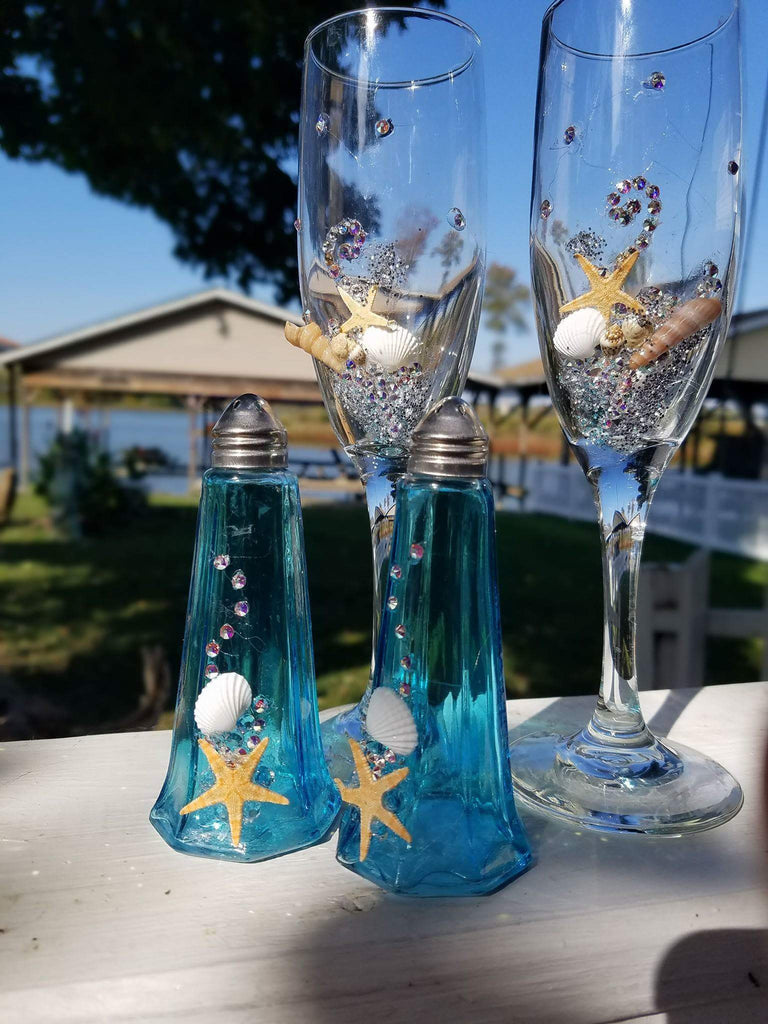 PAIR Champagne Flutes accented with SWAROVSKI CRYSTALS, SHELLS and STARFISH* BEACH WEDDING