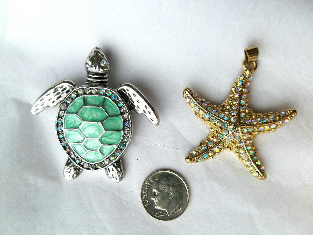 "SEA TURTLE or STARFISH PENDANT 2"" x 2"""