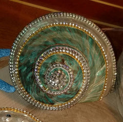 GREEN GLAMOUR SHELL with SHIMMERING RHINESTONES and Brilliant SWAROVSKI CRYSTALS