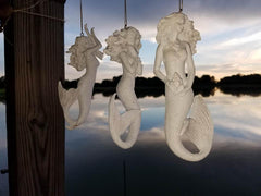 BEAUTIFUL WHITE GLITTER FLOWING MERMAID ORNAMENTS! SET OF 3*  ALL SEASON USES