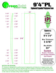 Performance Longboard foam shaping surfboard blank EPS green light styrofoam epoxy