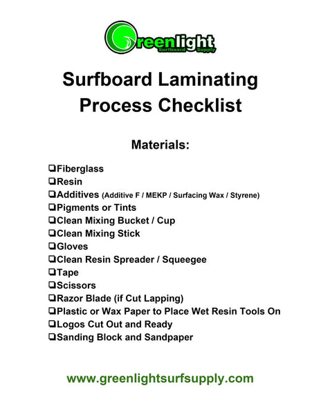 Surfboard Laminating Step by Step Instruction and Materials Checklist