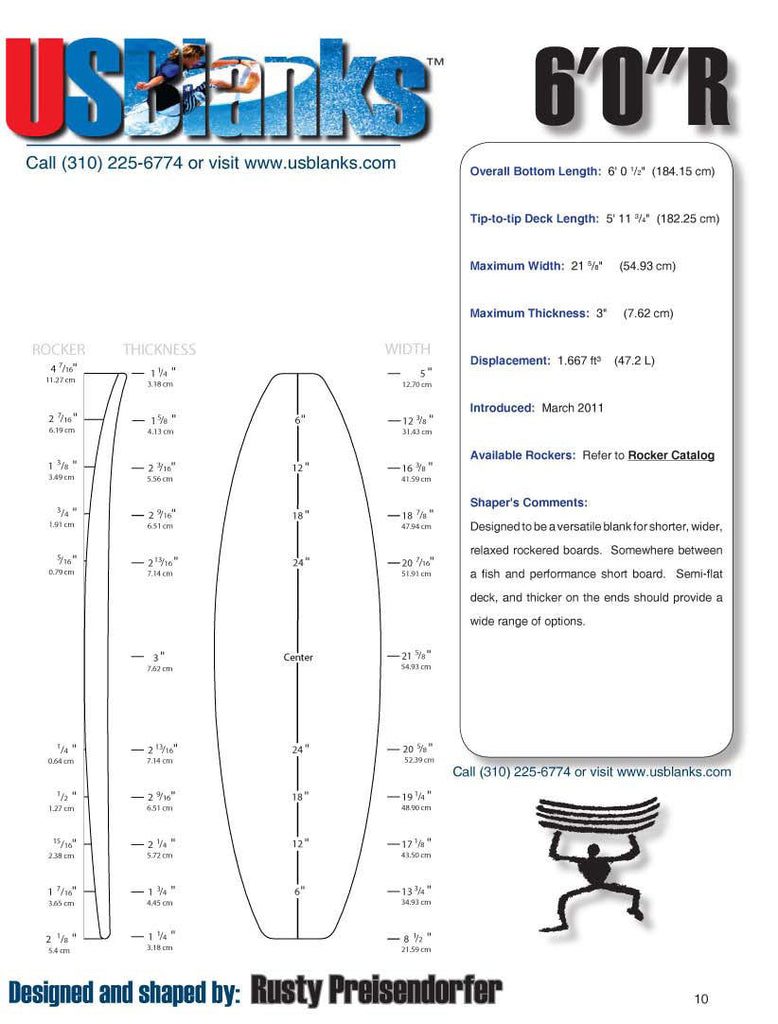 US Blanks 60R Surfboard Foam Blank - Rusty designed shortboard blank