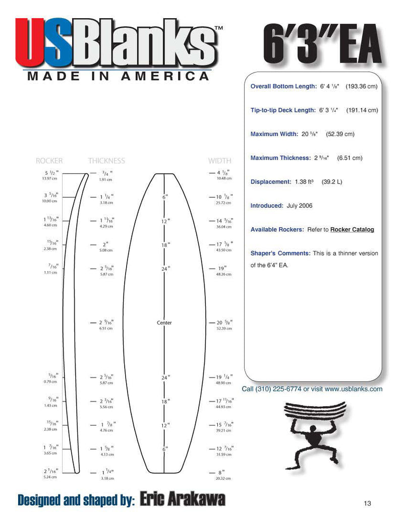 US Blanks 63EA Surfboard Blank - Surfboard Shaping Material