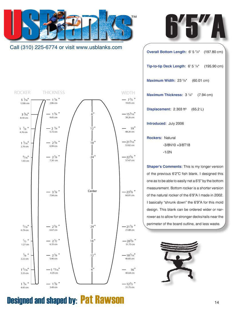 US Blanks 65A Surfboard Blank - Surfboard Shaping Supply