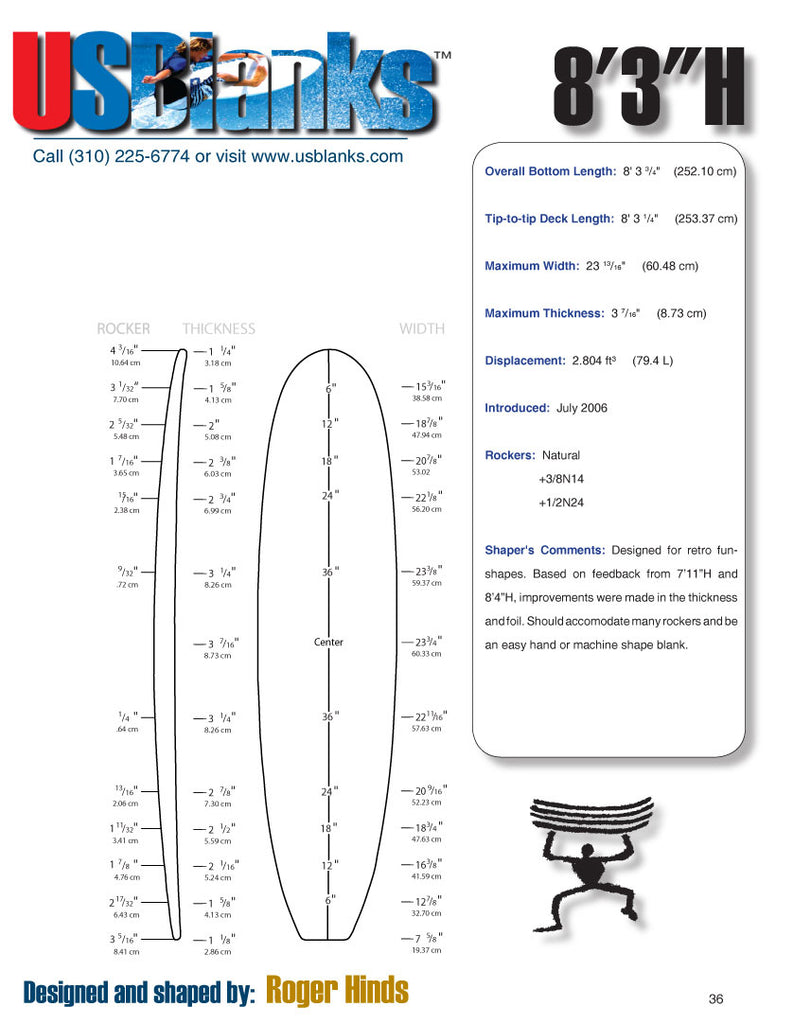 US Blanks 83H Surfboard Blank - Surfboard Shapers Supply East Cost New Jersey