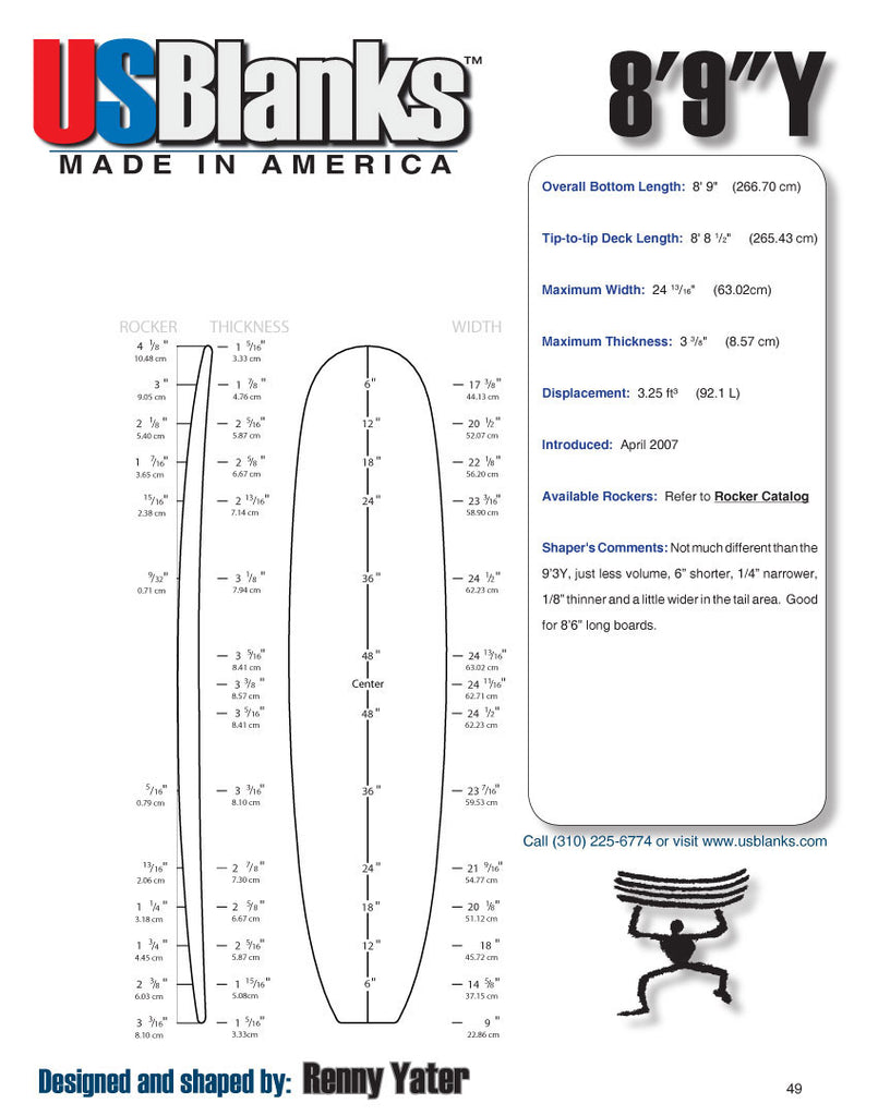 US Blanks 89Y Surfboard Blank - Shaping Surfboards Materials