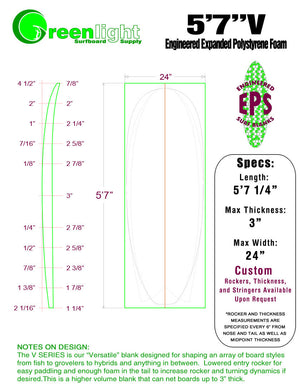 "[V SERIES] EPS Foam Surfboard Blanks : ""Versatile"" Blanks for Shaping Fish, Grovelers & Hybrids"