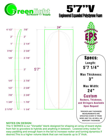 "[V SERIES] EPS Foam Surfboard Blanks : ""Versatile"" Blanks for Shaping Fish to Grovelers to Hybrids and Anything in Between"