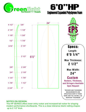[HP Series] EPS Foam Shortboard Surfboard Blanks : Lower Entry Rocker and More Tail Rocker