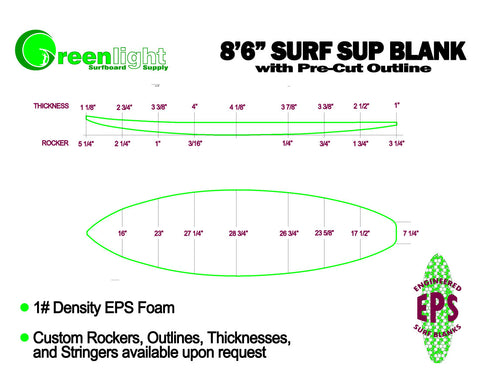 Sup Series Eps Foam Stand Up Paddleboard Blanks