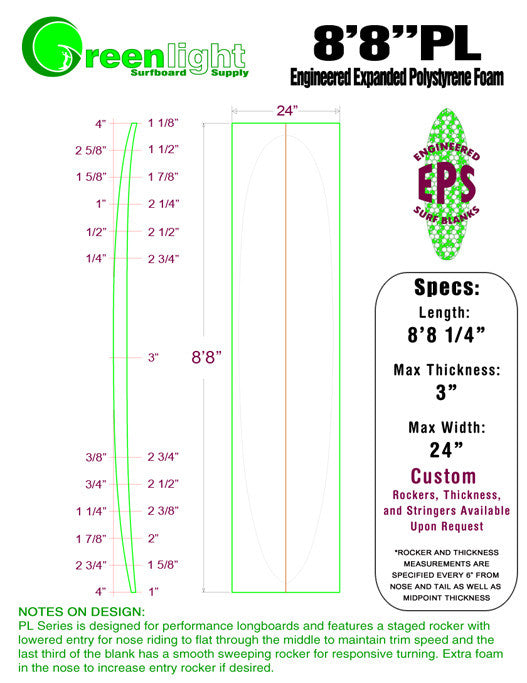[PL Series] EPS Foam Longboard Surfboard Blanks : High Performance Longboards