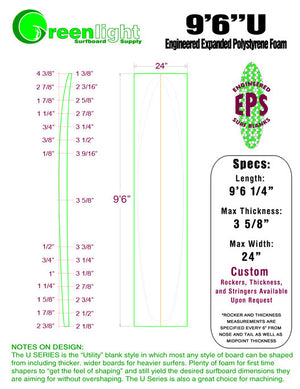 "[U SERIES] EPS Foam Surfboard Blanks : ""Utility"" Blanks for Higher Volume Shapes"